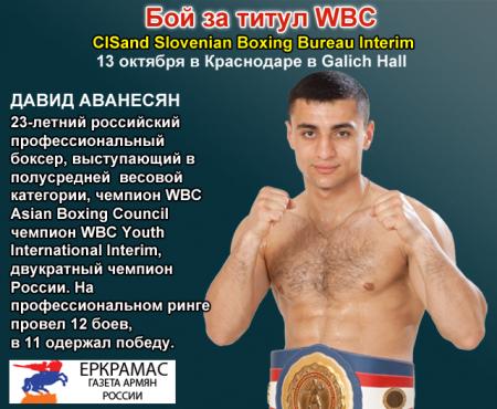 Профессиональный бокс: Армянин из Пятигорска в Краснодаре поборется за звание чемпиона СНГ и Славянских стран